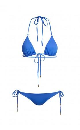 Portugal Triangle Bikini Top & Tie Side Bottom in Blue
