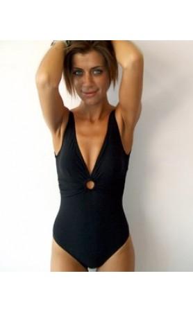 Basic Ring V-Neck One Piece Swimsuit