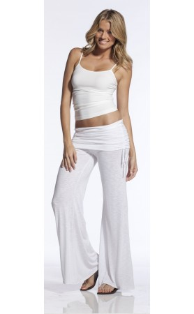 Elan Flair Clinch Waistband Pants in White at Pesca Boutique