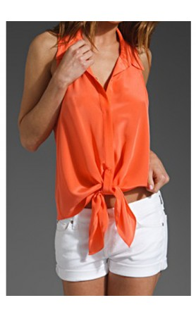 Beti Tie Front Sleeveless Top in Coral