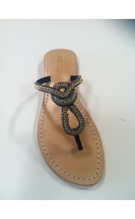 4900 Navy Crystal Sandals