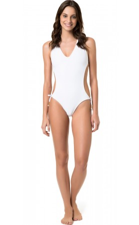 Engana Mamae Monokini Cut -Out in Solid White