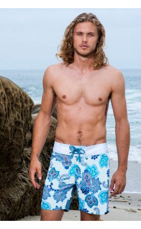 Island Board Short in White Paisley Sauvage