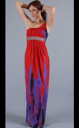 SKY Red Floor One Shoulder Dress