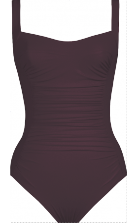 Basic Square Neck Swimsuit Tank One Piece in Wine