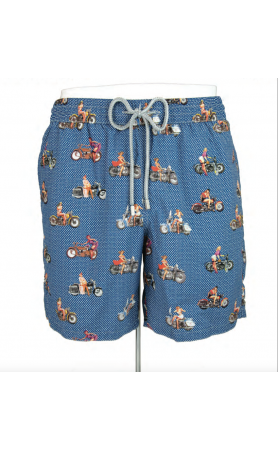 AUB606 Motorcycle Girl Swim Trunks