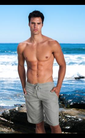 Linen Shorts in Slate