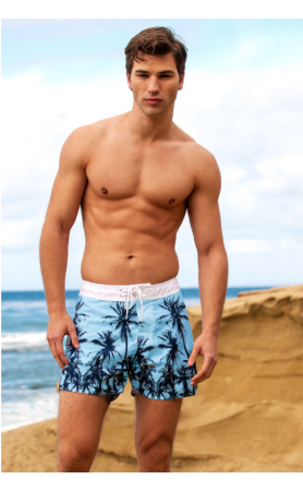 St Tropez Surf Shorts in Aqua Palms