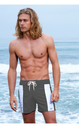 Boardwalk Surf Shorts in Charcoal White