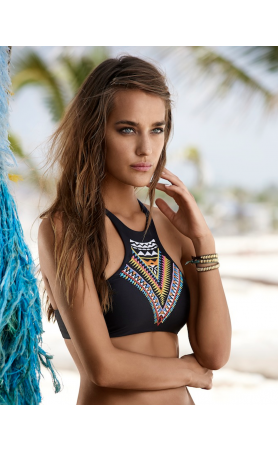 Gypsy Embroidered Halter Bikini Top