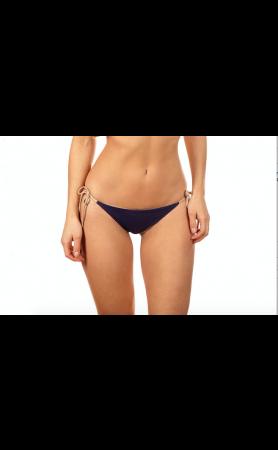 Jayne Braid Reversible Moderate Tie Side Scrunch Bottom in Aubergine/Nude
