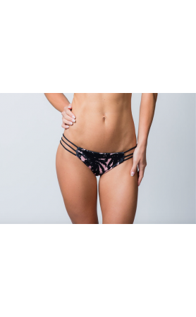 Mia Itsy Strappy Reversible Bottom in Pink Palm/Black