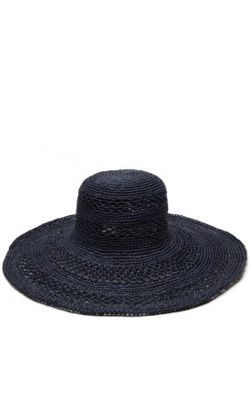 Sienna Open Weave Hat in Navy