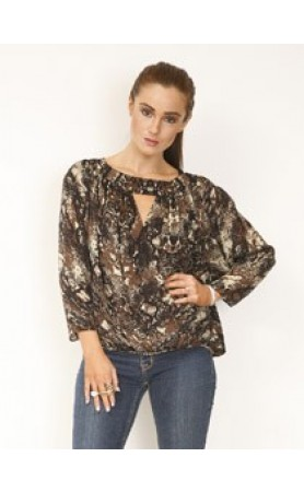 Slit Wrap Top in Forest Python
