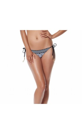 Medallion Side Tie Brazilian Bottom in Black Muti