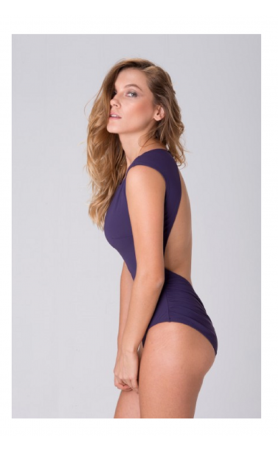 Heather High Neck One Piece in Purple