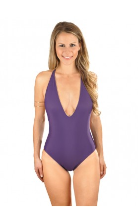 Skylar Reversible Plunging One Piece Swimsuit in Aubergine/Nude