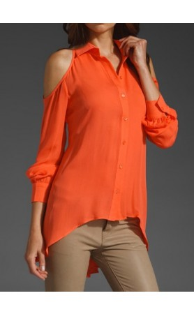 Cut Out Shoulder Button Down Top in Coral