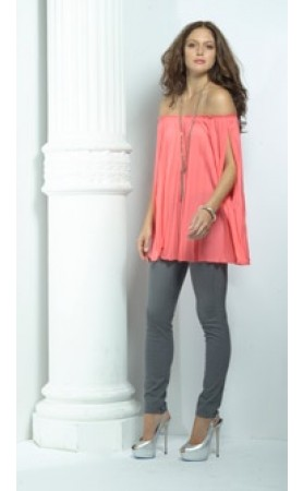 Plisse Top in Neon Coral