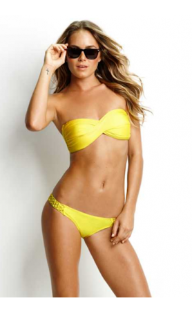 Shimmer Twist Bandeau in Yellow